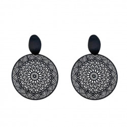Black Ring Pendant Earrings