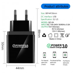 Travel Phone Quick Charger Mobile Phone 4 Port 3A